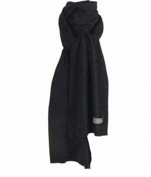 Kasjmier-blend sjaal in gemêleerd zwart