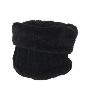 Zwart gebreide fleece col / nekverwarmer