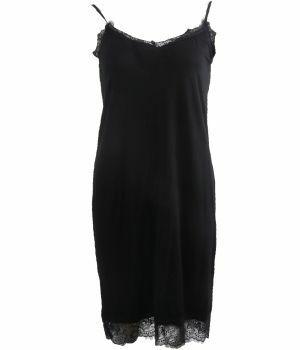 Tricot onderjurk met kant in zwart