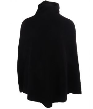 Zwarte poncho met col van 100% kasjmier